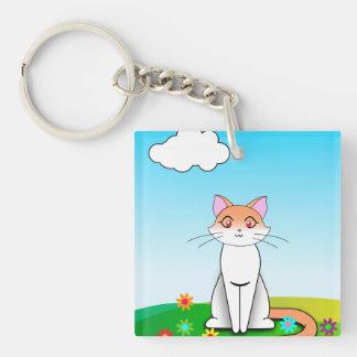 Field Cat Single-Sided Square Acrylic Keychain