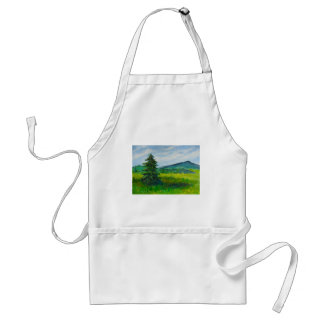 Field Evergreen, acrylic painting Adult Apron