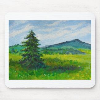 Field Evergreen, acrylic painting Mousepad