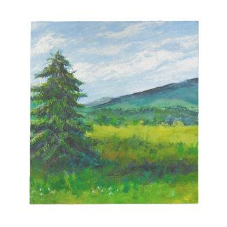 Field Evergreen, acrylic painting Memo Pads