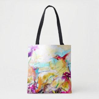"""""""Field Flirtation"""" Hummingbird Print Tote Bag"""