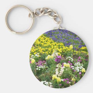 field flowers2 basic round button keychain