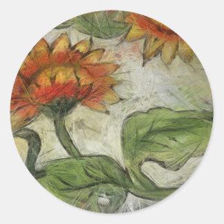 Field flowers classic round sticker