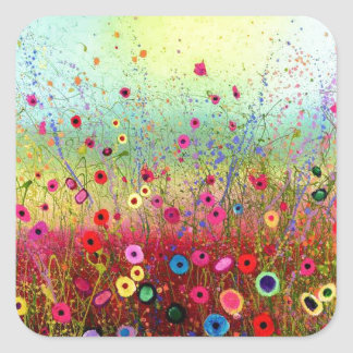 Field flowers square stickers