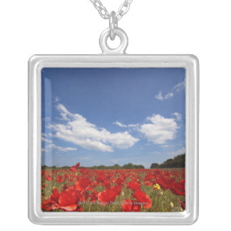 Field Full Of Red Flowers Silver Plated Necklace