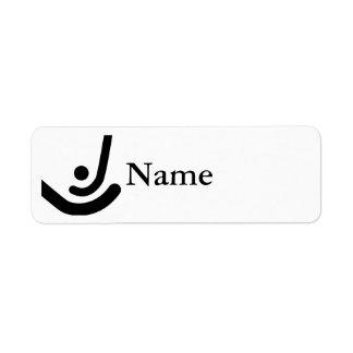 Field Hockey  Black sticks & ball Logo Return Address Label