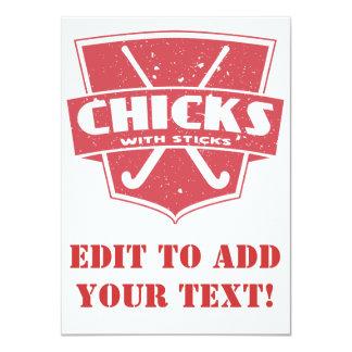 Field Hockey Chicks With Sticks Card