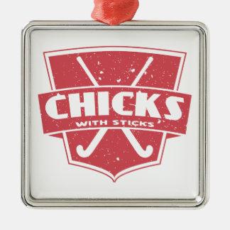 Field Hockey Chicks With Sticks Christmas Tree Ornament