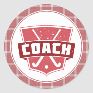 Field Hockey Coach Red Shield Classic Round Sticker