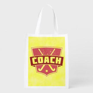 Field Hockey Coach Red Shield Market Totes