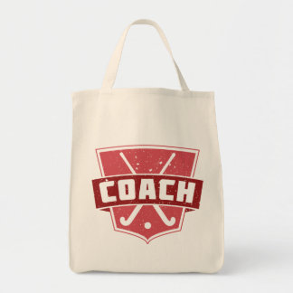 Field Hockey Coach Red Shield Tote Bag