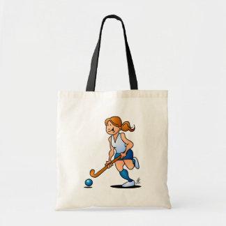 Field hockey girl tote bag