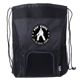 Field Hockey Goalie Quote Drawstring Backpack