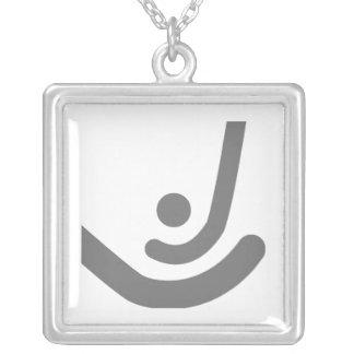 Field Hockey  Gray sticks & ball Logo Silver Plated Necklace