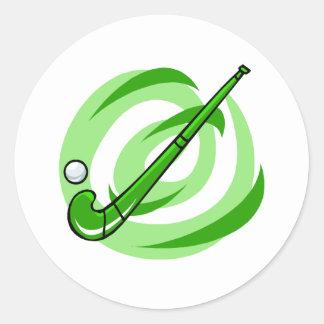 Field Hockey green logo Classic Round Sticker