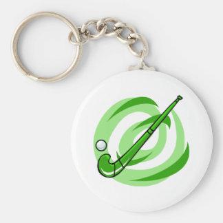 Field Hockey green logo Basic Round Button Keychain