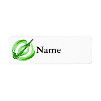 Field Hockey green logo Return Address Label