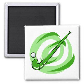 Field Hockey green logo 2 Inch Square Magnet