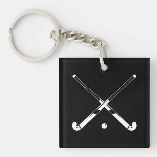 Field Hockey Keychain w/Name Black