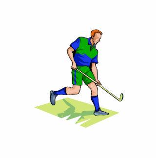 Field Hockey man blue green Cutout