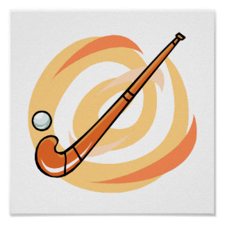 Field Hockey orange logo Poster