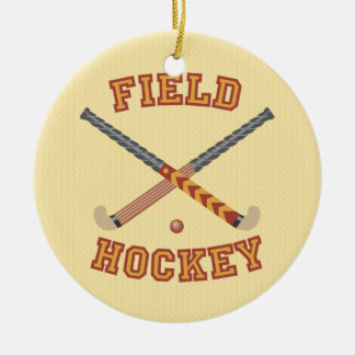 Field Hockey Double-Sided Ceramic Round Christmas Ornament