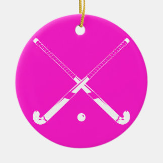 Field Hockey Ornament w/Name Pink