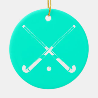 Field Hockey Ornament w/Name Turquoise