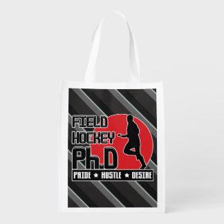 Field Hockey Ph.D Shopping Bag Grocery Bags