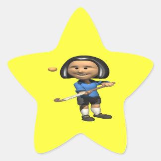 Field Hockey Player 2 Star Sticker