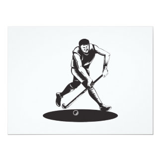 Field Hockey Player Running With Stick Retro Card