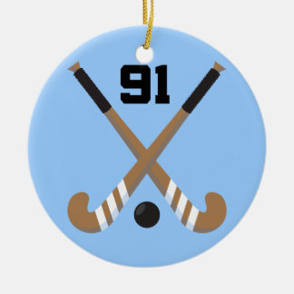 Field Hockey Player Uniform Number 91 Gift Christmas Tree Ornaments