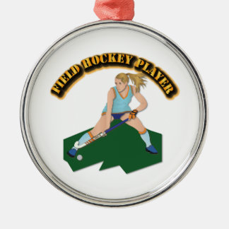 Field Hockey Player with Text Metal Ornament