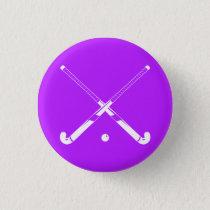 Field Hockey Silhouette Button Purple