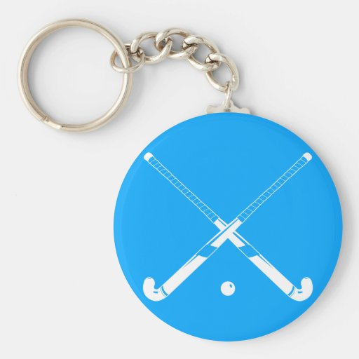 Field Hockey Silhouette Keychain Blue