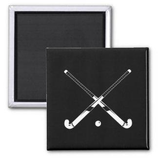 Field Hockey Silhouette Magnet Black