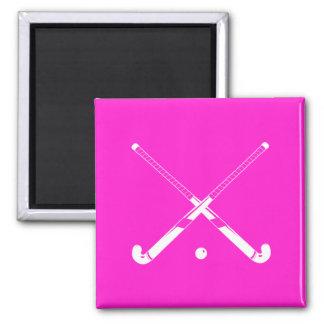Field Hockey Silhouette Magnet Pink