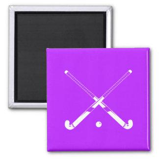 Field Hockey Silhouette Magnet Purple