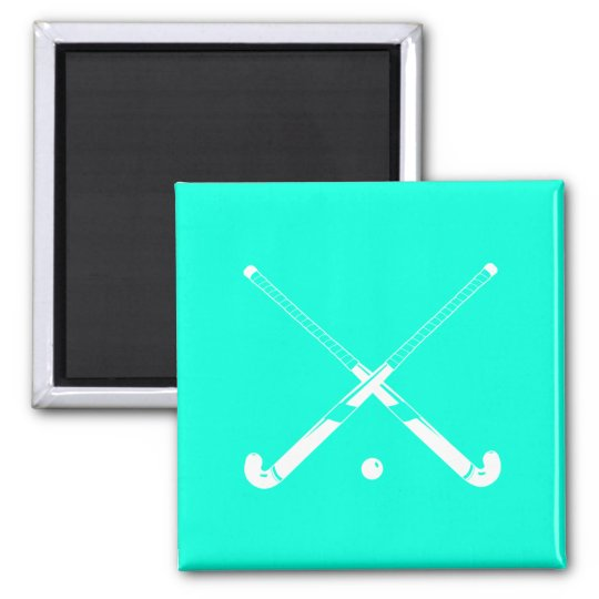 Field Hockey Silhouette Magnet Turquoise