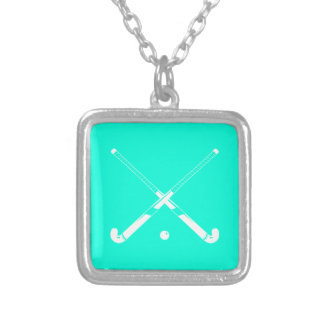 Field Hockey Silhouette Necklace Turquoise