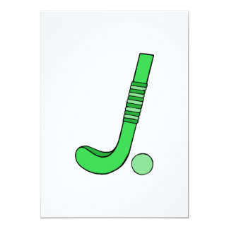 Field Hockey stick green 5x7 Paper Invitation Card