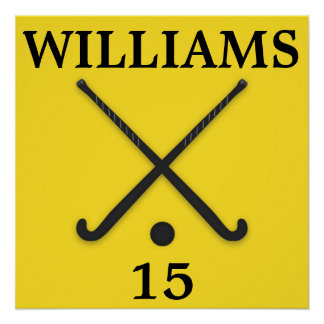 Field Hockey Sticks Name Number Customize Poster