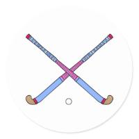 Field Hockey Sticks Round Sticker