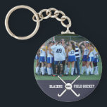 """Field Hockey Team Player Photo Name Number Custom Keychain<br><div class=""""desc"""">Fun keychain featuring your photo,  field hockey sticks/ball,  team name and optional year of number.  Makes a great end of season gift.</div>"""