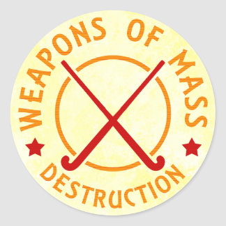 Field Hockey Weapons of Destruction Classic Round Sticker