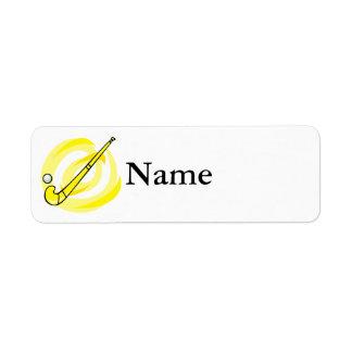 Field Hockey yellow logo Return Address Label