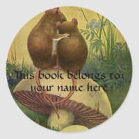 Field Mice Bookplate sticker