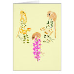 field mice playing greeting cards