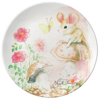 Field Mouse With Mushrooms & Butterfly Porcelain Plates
