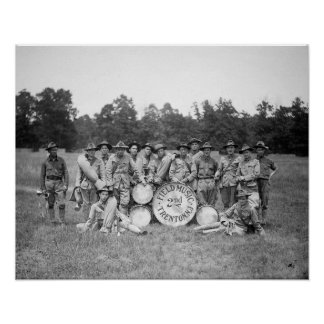 Field Music Band, 1925. Vintage Photo Poster